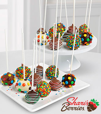 Belgian Chocolate Dipped Birthday Cake Pops - 20-piece