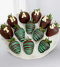 Chocolate Dip Delights™ Thank You Berry Gram Real Chocolate Covered Strawberries - 12-piece