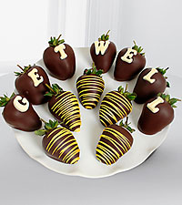 Chocolate Dip Delights™ Get Well Berry Gram Real Chocolate Covered Strawberries - 12=piece