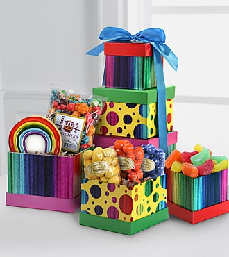 The FTD® Pick Me Up™ Rainbow Rush Gourmet Sweets & Treats Tower