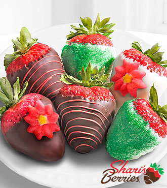 Shari's Berries™ Limited Edition Chocolate Dipped Jolly Holiday Strawberries - 6-piece