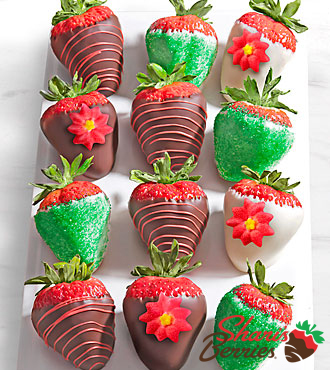 Shari's Berries™ Limited Edition Chocolate Dipped Jolly Holiday Strawberries - 12-piece