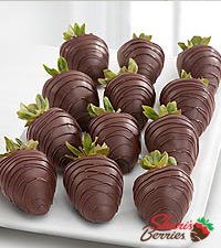 Chocolate Dip Delights™ Real Dark Chocolate Covered Strawberries - 12 piece