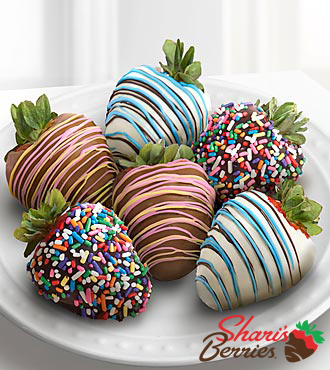 Chocolate Dip Delights™ Celebration Real Chocolate Covered Strawberries - 6 piece