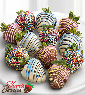 Chocolate Dip Delights™ Sweet Celebrations Real Chocolate Covered Strawberries - 12-piece