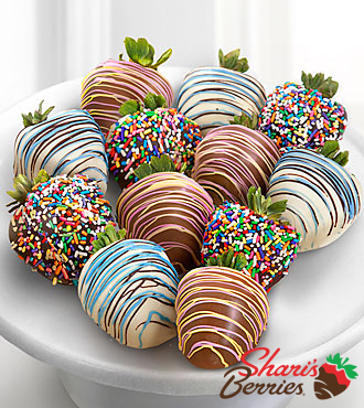 Chocolate Dip Delights™ Sweet Celebrations Real Chocolate Strawberries - Triple Dipped-12pc