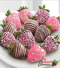 Chocolate Dip Delights™ A Baby Girl! Real Chocolate Covered Strawberries - 12pc