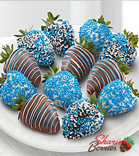 Chocolate Dip Delights™A Baby Boy! Real Chocolate Covered Strawberries - 12pc