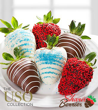 Chocolate Dipped Patriotic Strawberries - 6-piece