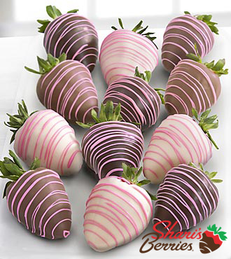 Shari's Berries™ Limited Edition Chocolate Dipped Strawberries & Pink Drizzle - 12-piece