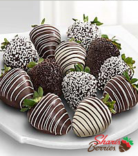 Shari's Berries™ Limited Edition Chocolate Dipped White & Dark Strawberries - 12 piece