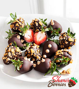Shari's Berries™ Limited Edition Chocolate Dipped Peanut Brittle Strawberries - 12 piece