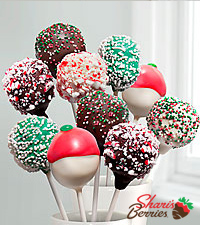 Shari's Berries™ Limited Edition Chocolate Dipped Christmas Cake Pops - 10-piece