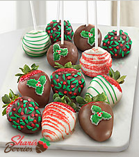 Shari's Berries™ Limited Edition Chocolate Dipped Holiday Cake Pop & Berry Combo