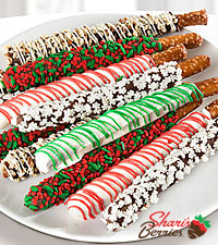 Shari's Berries™ Limited Edition Chocolate Dipped Santa's Salty & Sweet Holiday Pretzels