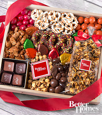 The FTD® Harvest Riches Chocolate Covered Sampler Crate by Better Homes and Gardens®