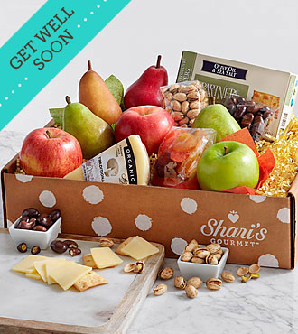 Simply Fresh Fruit, Cheese & Snacks - Get Well Soon Ribbon