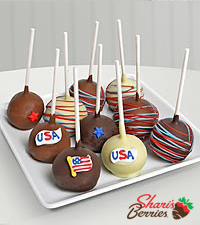 Belgian Chocolate Dipped Pride of the U.S.A. Cake Pops -10 pieces