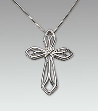 Sterling Silver Cross Pendant with .03 cttw Diamond Accents
