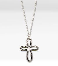 Amazing Grace Sterling Silver Cross Pendant