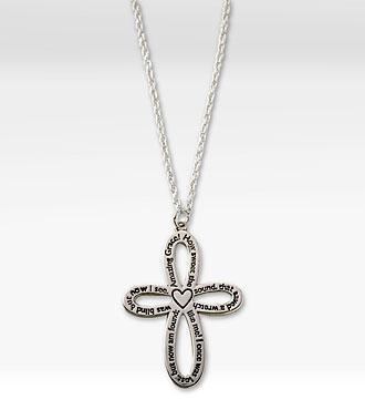 Amazing Grace Sterling Silver Cross Pendant