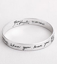 Poetic Threads Silver Message Bangle Bracelet by Lori Siebert