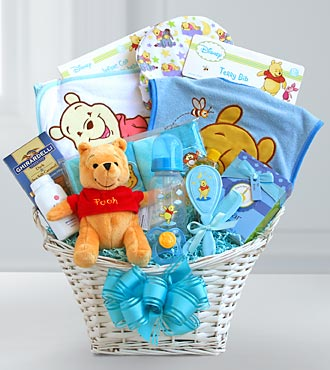 Winnie the Pooh Welcome Baby Boy Basket