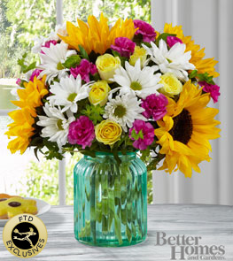The FTD® Sunlit Meadows Bouquet by Better Homes and Gardens® - VASE INCLUDED