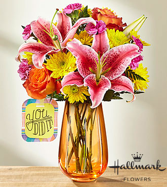 The FTD® You Did It!™ Bouquet by Hallmark - VASE INCLUDED