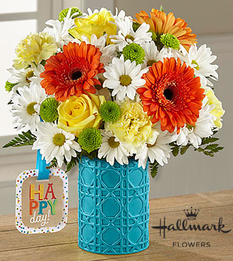 The FTD® Happy Day Birthday™ Bouquet by Hallmark - VASE INCLUDED