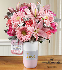 The FTD® Sweet Baby Girl™ Bouquet by Hallmark - VASE INCLUDED