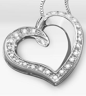 1/4 ct tw Diamond Open Heart Sterling Silver Pendant