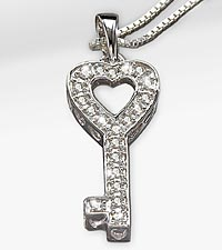 Diamond Accent Sterling Silver Key Pendant