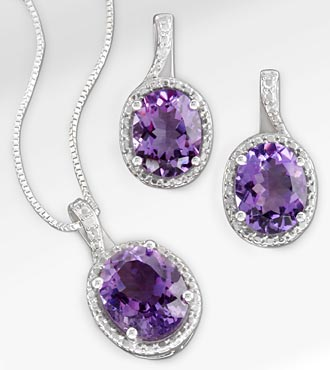 Amethyst & Diamond Pendant & Earring Sterling Silver Set