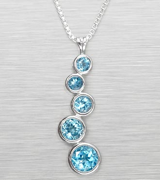 Genuine Blue Topaz Sterling Silver Journey Pendant