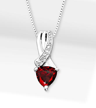 6mm Garnet Trillion with Diamond Accent Sterling Silver Pendant Necklace