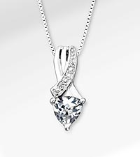6mm White Topaz Trillion with Diamond Accent Sterling Silver Pendant Necklace