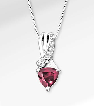 6mm Created Rhodolite Trillion with Diamond Accent Sterling Silver Pendant Necklace