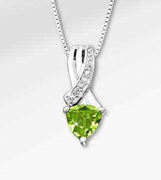 6mm Peridot Trillion with Diamond Accent Sterling Silver Pendant Necklace