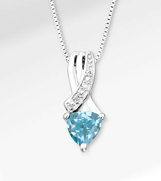 6mm Blue Topaz Trillion with Diamond Accent Sterling Silver Pendant Necklace