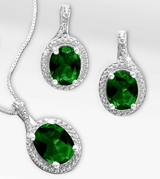 Synthetic Emerald & Diamond Pendant & Earring Set