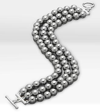 3-Row Shell Gray Cultured Pearl Bracelet
