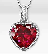 Joyful Heart Created Ruby & Created White Sapphire Sterling Silver Pendant
