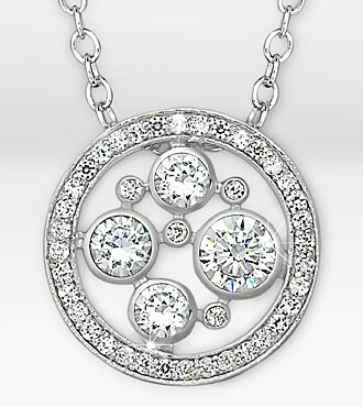 Sparkle Genuine White Topaz Circle Sterling Silver Pendant