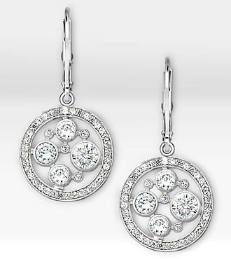 Sparkle Genuine White Topaz Sterling Silver Earrings