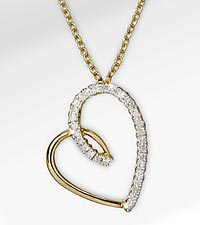 Heart Full of Happiness 0.05 cttw Diamond Accent Heart 14K Gold Over Sterling Silver