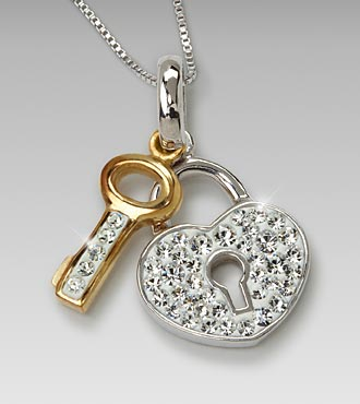 White Swarovski Crystal Heart & Key Sterling Silver Pendant