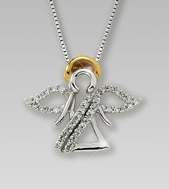 0.20 cttw Diamond Angel Sterling Silver Pendant