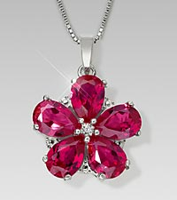 Created Pink Ruby Floral Sterling Silver Pendant