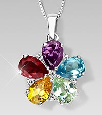 Simulated Multi-Gemstone Floral Sterling Silver Pendant